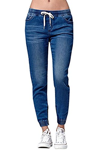 chimikeey Womens Jogger Denim Pants Elastic Drawstring Waisted Stretchy Casual Blue Jeans ()