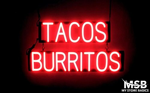 15 x 29in. Tacos Burritos Neon Look LED Technology Animated Store Window Sign ()
