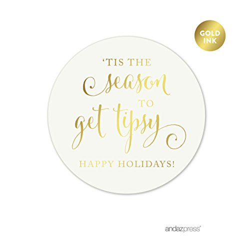 Andaz Press Christmas Collection, Round Circle Gift Label Stickers, Tis the Season to Get Tipsy, Happy Holidays, Metallic Gold Ink, 40-Pack, For Wine Alcohol Christmas Favors and Gifts, Wine Bags