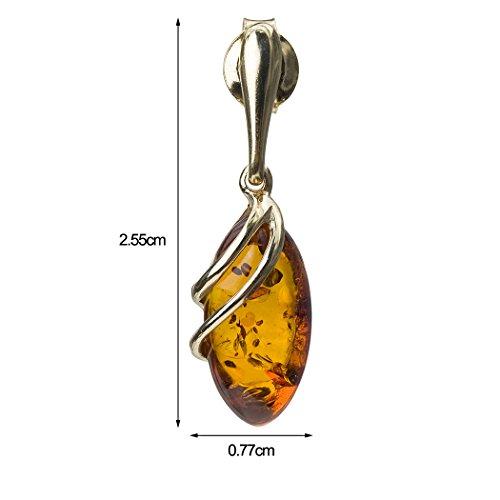 Miel Ambre Boucles d'oreilles clous or jaune 14K Marquise
