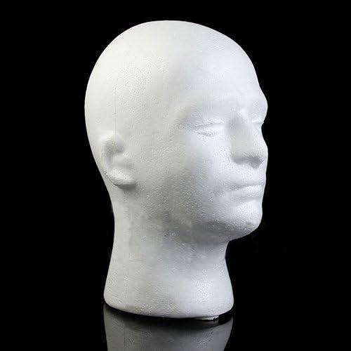 dukesong 11.02 Inch Styrofoam Male Mannequin Styrofoam Foam Manikin Head Model Wig Glasses Hat Display Stand White