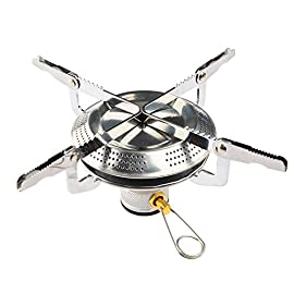 Petforu Camp Stove, Ultralight Portable Outdoor Camping Stove Hiking Backpacking Picnic Cookware Cooking Tool Set Pot Pan & Piezo Ignition Canister Stove 11 camp stove