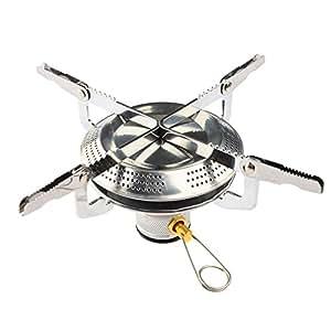 Camping Stove, Petforu Mini Folding Stainless Steel Outdoor Camping Gas Butane Propane Stove Burner Cookware