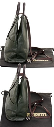 Primo Branded Leather Rucksack Top Shoulder Protective Handle Bag Sacchi Storage Includes Dark Napa Bag Dark Brown Soft Green Italian Backpack amp; r7Ir1zS