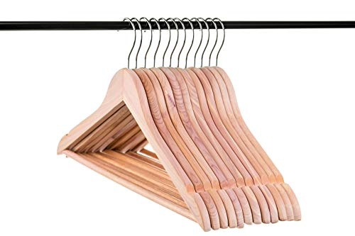 Neaties American Cedar Wood Hangers with Notches and Bar for Fresh Closet, 12pk ()
