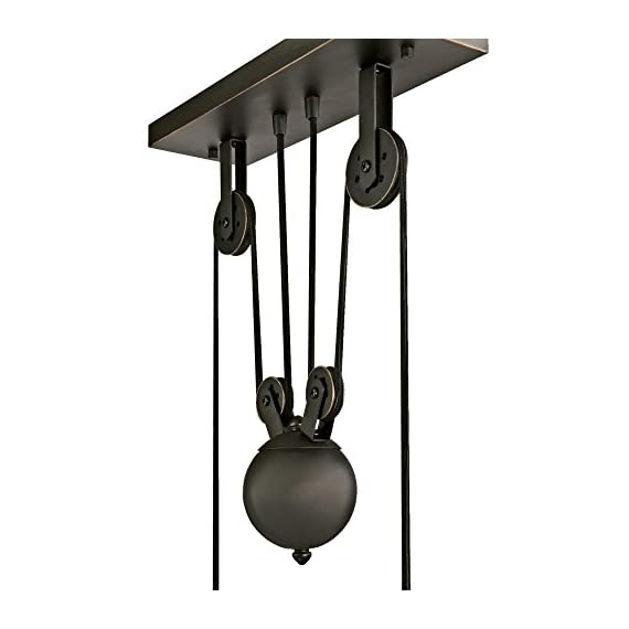Westinghouse Lighting 6332500 Iron Hill Three-Light Indoor Island Pulley Pendant, Oil Rubbed Finish with Highlights and Metallic Bronze Interior, 3 - Three-light indoor island Pendant with vintage-industrial details adds unique appeal 31-15/16 inches in height, 39-15/16 inches in Width, 12 inches in depth, 58-15/16 inches maximum hanging length, 31-15/16 inches minimum hanging length Uses three 60-watt medium-base light bulbs (not included), for a vintage appeal use Westinghouse filament LED light bulbs. Recommended Uses- Impressive down lighting for over a kitchen island, breakfast bar, pool table or dining room. Ideal for a range of architectural home styles and decor's, including art deco, arts & crafts, bungalow, craftsman, and modern - kitchen-dining-room-decor, kitchen-dining-room, chandeliers-lighting - 41At53S5EHL. SS570  -