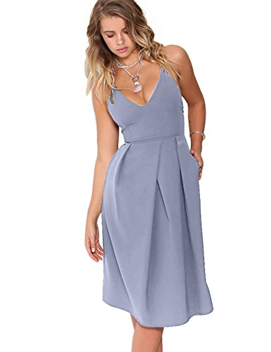 Eliacher Women's Deep V Neck Adjustable Spaghetti Straps Summer Dress Sleeveless Sexy Backless Party Dresses with Pocket (S, Light Slate Gray)