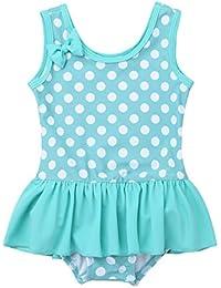 MSemis Infant Baby Girls One Piece Swimsuit Ruffled Sleeveless Polka Dots Romper Swimwear