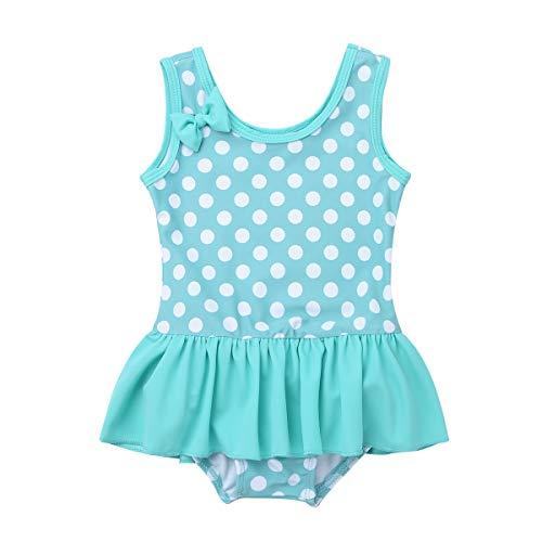 Infant One Ruffle Swimsuit Piece (iEFiEL Baby Girls Cute Polka Dot Bow Ruffle Swimsuit Swimwear One-Piece Bathing Suit Lake Green 3-6 Months)