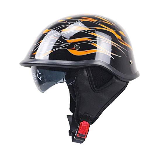 Legal Street Leather (Shfmx Adult Motorcycle Half Helmet, DOT Certified Scooter Pilot Retro Harley Half Helmet with Sun Visor,M)