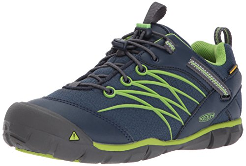 KEEN Unisex-Kids Chandler CNX WP Hiking Shoe, Dress Blues/Greenery, 6 Youth US Big Kid by KEEN