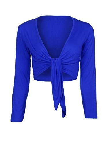 Up-Town-Bolro-Cardigan-Femme-Manche-Longue-Nou-Devant-Bleu-Royal-Medium-Large