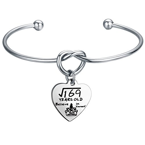 FEELMEM Birthday Gifts for Her Birthday Bracelets,12th Sweet 16 18th 21st,Love Knot with Heart Charm Bangle Bracelet,Perfect Birthday Gift Ideas (13th birthday) -