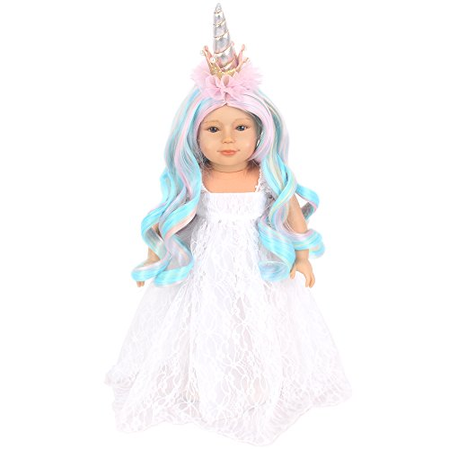 STfantasy American Girl Doll Wig Long Curly Ombre Multicolor Middle Part Synthetic Hair for AG Doll Bald Head -