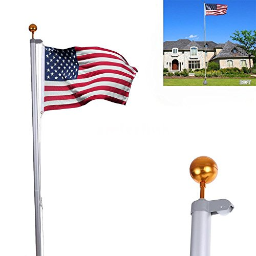 VINGLI Golden Aluminum Flag pole Tangle Free Spinning Flagpole, Residential, Commercial, Outdoors Décor, with 3'x5' US Flag, Ball Top Kit, Halyard Rope, Carabiners, PVC Sleeve (20FT) 20 Foot Telescoping Flagpole