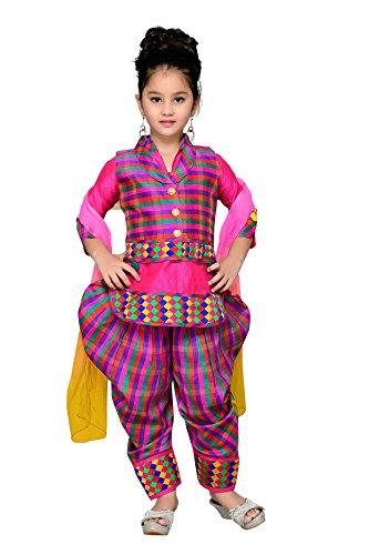 Aarika Girl's Self Design Cotton Ethnic Kurti, Patiala and Dupatta Set (1516-RANI-JK-2_38_14-15 Years) by Aarika