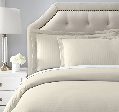 Ornavo Home Hypoallergenic Ultra Soft Brushed Premium 3 Piece Stripe Duvet Cover Set - Durable, Wrinkle Free and Fade Resistant - Full/Queen, Beige by Ornavo Home