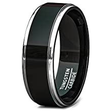 Mens Wedding Band Tungsten Ring 8mm Black Polished Classic Step Edge Comfort Fit