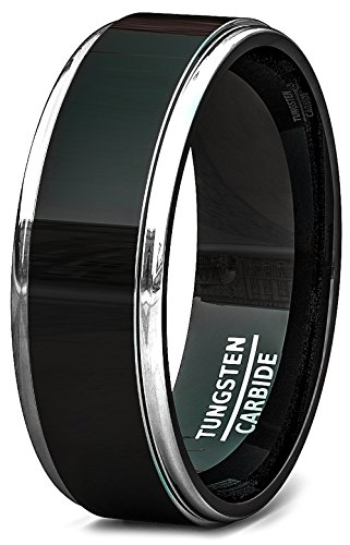 Duke Collections Black Tungsten Carbide Wedding Band 8mm High Polished Raised Surface Step Edge Two Tone Comfort Fit ()