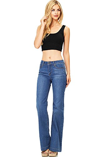 Straight Leg Bootcut Flare (Wax Women's Juniors Mid Waist Boot Cut Straight Jeans (11, Medium))