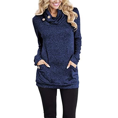 Shirt Autunno Superiore Cappuccio Ragazza Pocket T con Autunno Mucchio delle Donne Collare Camicetta Blue Felpa OBFZnSx
