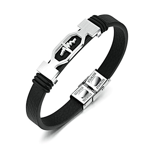 Gnzoe Heart Beat Shape Stainless Steel Men Leather Bracelet Silver 20CM (Yurman Bracelet Gemstone David)