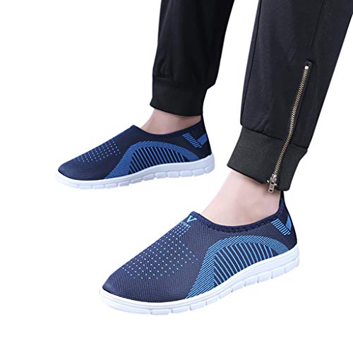 Water Mens Journey (Seaintheson Flat Shoes, Athletic Comfortable Mesh Cotton Sneakers Casual Stripe Loafers Soft Walking Shoes for Womens Mens)