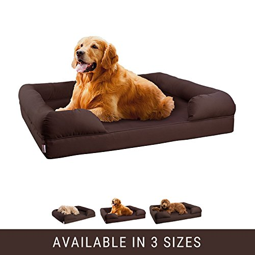 Cat Bed Cover (Orthopedic Pet Sofa Bed - Dog, Cat or Puppy Memory Foam Mattress - Chocolate Brown Comfortable Couch For Pets With Removable Washable Cover - Large - By Petlo)