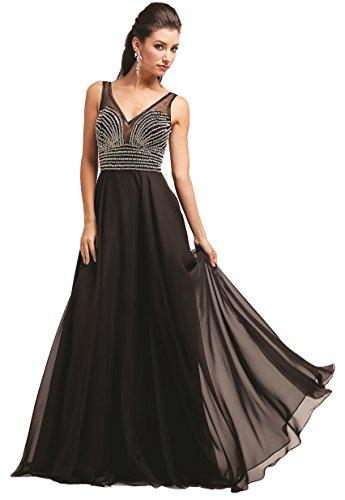 Meier Women's Low V-Neck Beaded Prom Evening Formal Dress Black-18