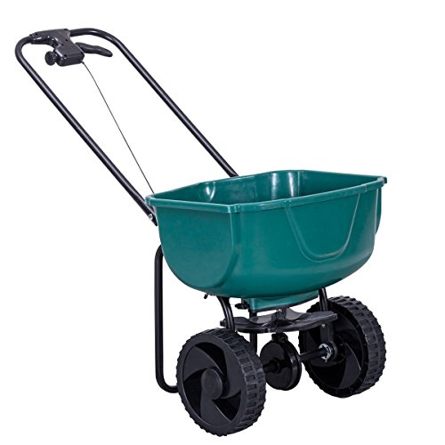 Goplus Broadcast Spreader Builder Fertilizer Push Walk Behind, Garden Seeder Salt Spreader (Green+ 7,500 sq ft)