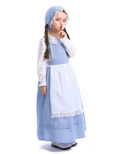 CASODA Girl Cartoon Cosplay Rural Costume Apron Maid Dress Halloween Christmas Theater School Festival Performance Prairie Farmyard, Blue, M3040 -