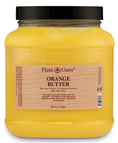 Orange Body Butter 3 lb. 100 Pure Raw Fresh Natural Cold Pressed. Skin Body and Hair Moisturizer, DIY Creams, Balms, Lotions, Soaps.