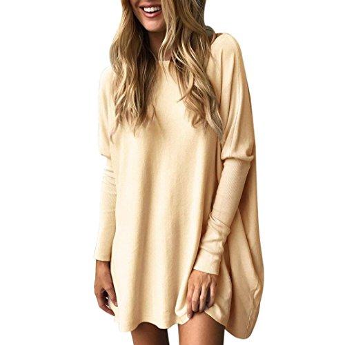 ABCone Casual S Neck Lunghe Donna Felpa XL Round Cachi Tops Batwin T Maniche Loose Autunno Pullover Solid Camicie Camicette Elegante Shirt r1rwqU