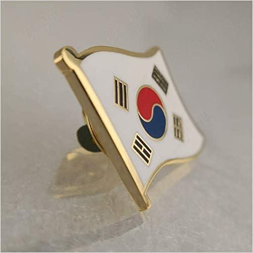 Soft Enamel South Korea Flag Lapel Pins Xennos Brooches