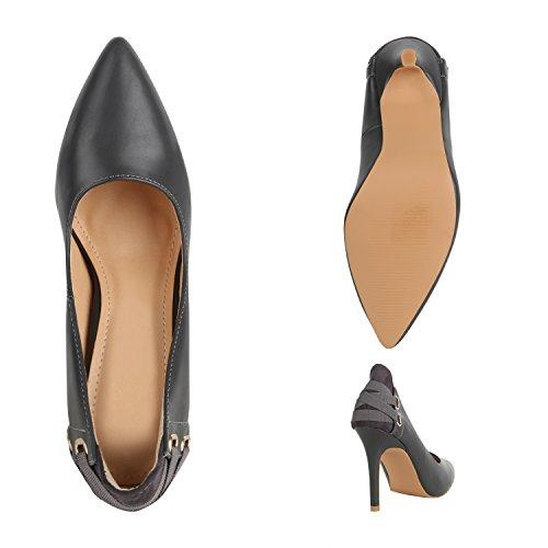 Stiefelparadies Elegante Spitze Pumps Damen High Heels Lack Stilettos Animal Print Flandell Grau