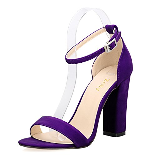Fashion Women Shoes Sandal (ZriEy Women's Chunky Block Strappy High Heel Sandals Fashion Simple Ankle Strap Open Toe Shoes Suede Purple Size 7.5 for Formal Dress Wedding Party)