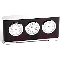 Bey-Berk SQB582T Desktop Weather Station with Clock, Thermometer and Hygrometer on Lacquered Rosewood with Stainless Steel and Chrome Accents. Brown
