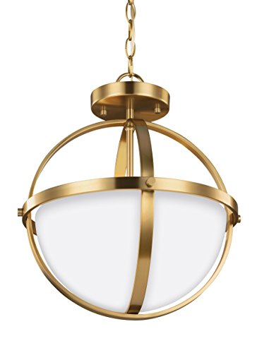 Sea Gull Lighting 7724602-848 Alturas Two Light Semi-Flush Convertible Pendant Satin Bronze (Flush Pan Semi)