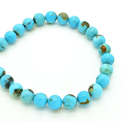 (Bluejoy Genuine Natural American Turquoise Round Bead 16 inch Strand for Jewelry Making)