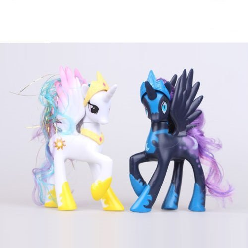 2 PCS My Little Pony White Princess Celestia LUNA NIGHEMARE MOON Figure Toys