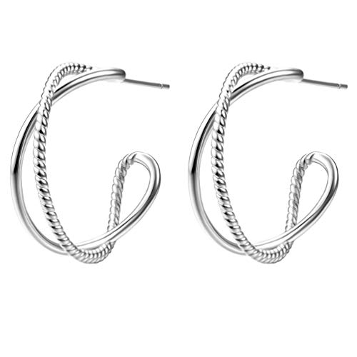 14K Yellow Gold Plated Hoop Earrings for Women, Women's Twisted Two Tone Hoops Earings, Fashion Dainty Wide Loops Earring with 925 Sterling Silver Hypoallergenic Posts (Rhodium Plated)