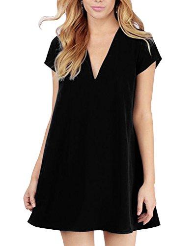 Tinta Camicia Unita Corta V Profondo Nero Abito Donna collo Vestito Manica SVGqUzpM
