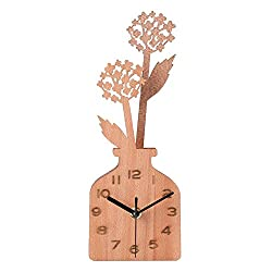 Giftgarden Handmade Desk Clocks Wood Dandelion Vase Decoration for Tabletop Housewarming Gifts, Grandma Gifts, Mom Gifts, Gift for Her
