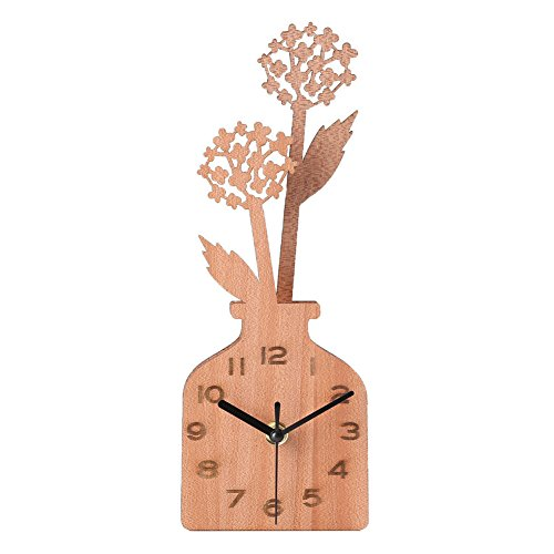 Giftgarden Handmade Desk Clocks Wood Dandelion Vase Decoration for Tabletop Housewarming Gifts, Grandma Gifts, Mom Gifts, Gift for Her