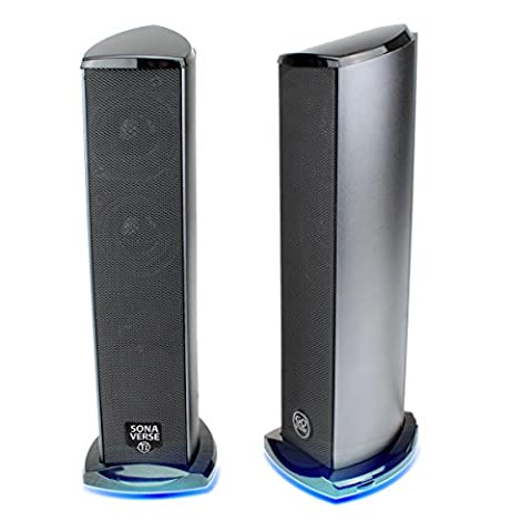 GOgroove TI USB Computer Speakers with Powered Subwoofer , Dual Drivers and Blue LED Glow Lights - Works with Apple , Acer , ASUS Desktop / Laptop Computers & More