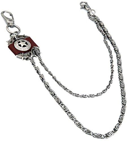 Wallet Pentagram (Kuyou Men's Trousers Wallet Key Chain Pentagram Pendant Pant Jean Gothic Rock Hip Hop Punk (Brown))