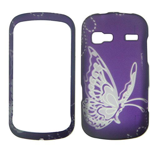 2D Silver Butterfly on Purple LG Rumor Reflex LN27 / UN272 / LG Xpression C395 / Freedom UN272 C395/ Converse AN272 (Boosts Mobile, Sprint at&t, U.S. Cellular) Case Cover Phone Snap on Cover Case Protector Case (Lg Rumor Reflex Cover compare prices)
