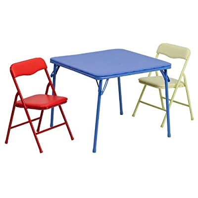 Flash Furniture JB-10-CARD-GG Kids Colorful 3 Piece Folding Table and Chair Set, , Blue: Kitchen & Dining