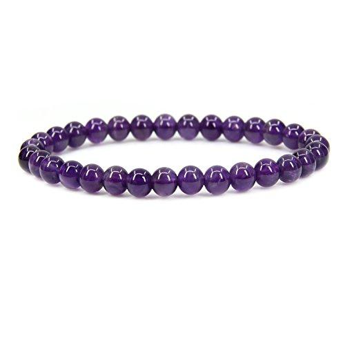 Natural A Grade Amethyst Gemstone 6mm Round Beads Stretch Bracelet 7 Unisex