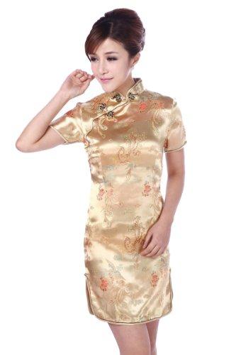 (JTC Women Cheongsam Short Sleeve Chinese Dress Slim Skirt Wedding Prop Outfit (4-6))